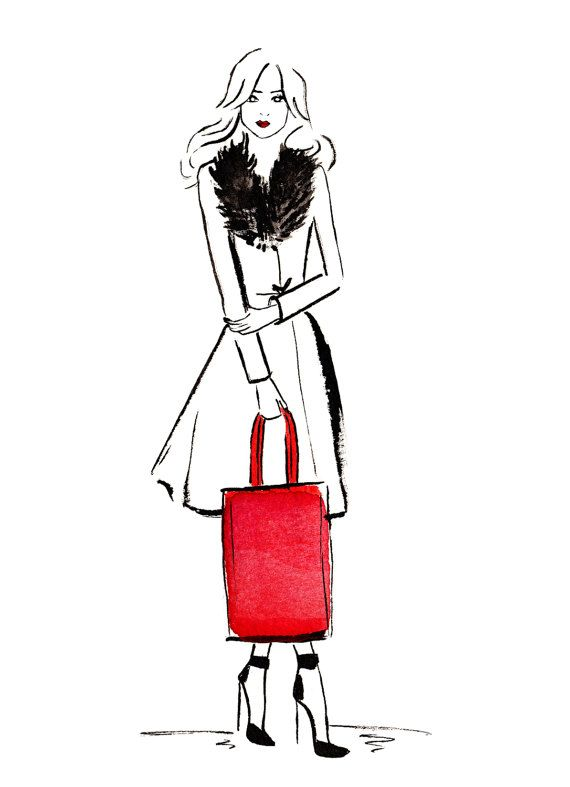 Aquarel mode illustratie getiteld Winter mode door FallintoLondon