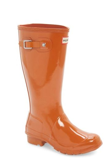 Orange kid Hunter rain boots