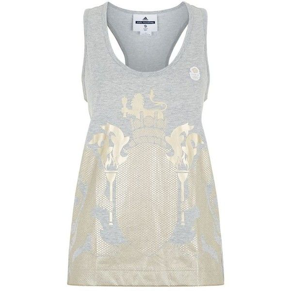 Adidas By Stella McCartney Team GB Gold Foil Crest Tank Top ($39) ❤ liked on Polyvore featuring tops, cotton jersey, white racerback top, racer back tank tops, lion tank top and adidas originals tank