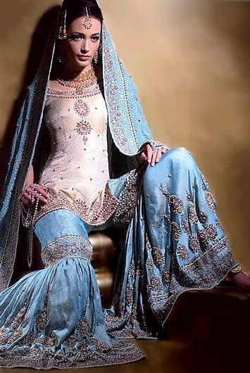 BW6817 Ivory & Cornflower Blue Sharara Online Sharara Collection, Exclusive Indian Sharara Choli, Sharara Suits, Designer Indian Sharara Bridal Wear