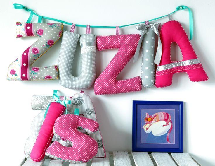 ...szmaciane literki...letters...literki rękodzieło szyte literki dekoracje dziecięce pokój dziecięcy kidsroom dla dziecka for kids handmade leterrs kinderzimmer
