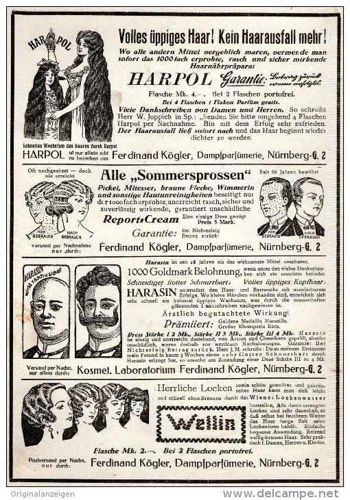 Original-Werbung/ Anzeige 1927 - HARPOL / HARASIN / WELLIN / DAMPFPARFÜMERIE KÖGLER NÜRNBERG- ca. 130 x 190 mm