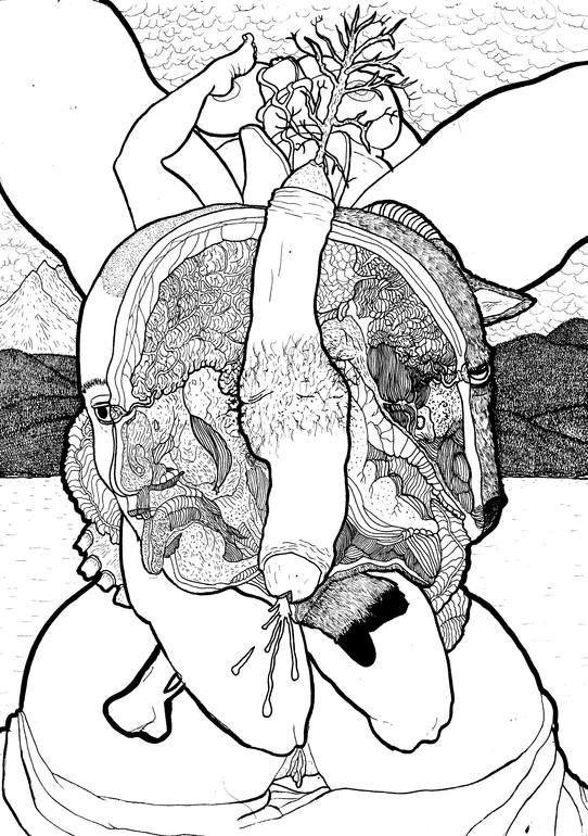 """Saatchi Art Artist: Nicola Vinciguerra; Ink 2015 Painting """"""""Priapus - Numen Vilius Inter Cunctos Deos"""""""""""