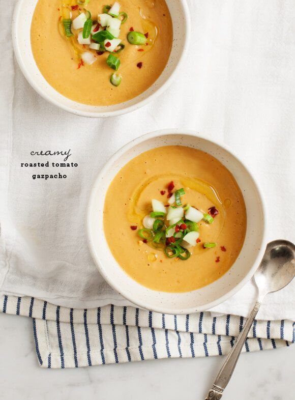 A creamy summer soup that's made with roasted tomatoes, peppers, marcona almonds and thickened with bread.