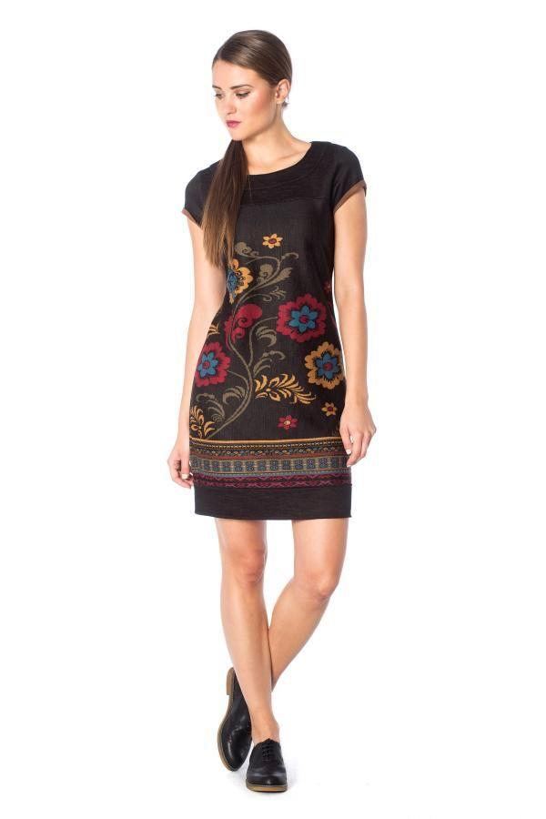 Φόρεμα κοντομάνικο εμπριμέ