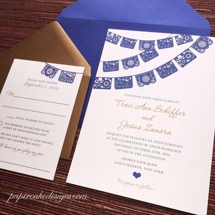 Papel Picado Wedding Invitation / RSVP Enclosure Cards / Multicolor Fiesta by papercakedesigns on Etsy https://www.etsy.com/listing/206675565/papel-picado-wedding-invitation-rsvp