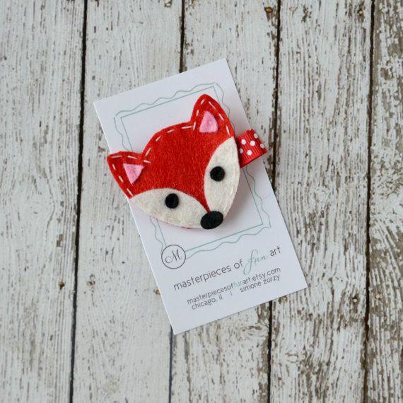 Red Fox Felt Hair Clip Cute Animal by MasterpiecesOfFunArt