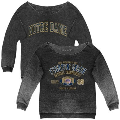 Original Retro Brand Notre Dame Fighting Irish Ladies 2013 BCS National Championship Game Bound Reversible Crew Sweatshirt - Charcoal