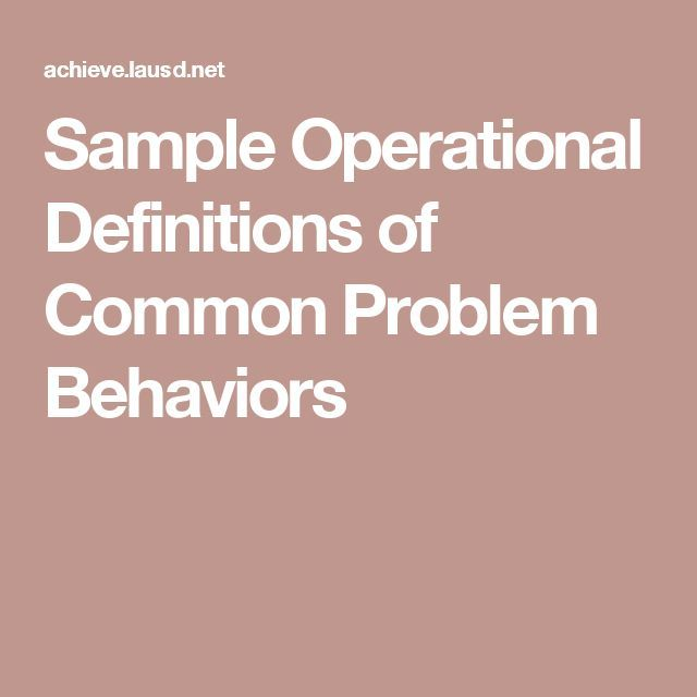 Sample Operational Definitions of Common Problem Behaviors