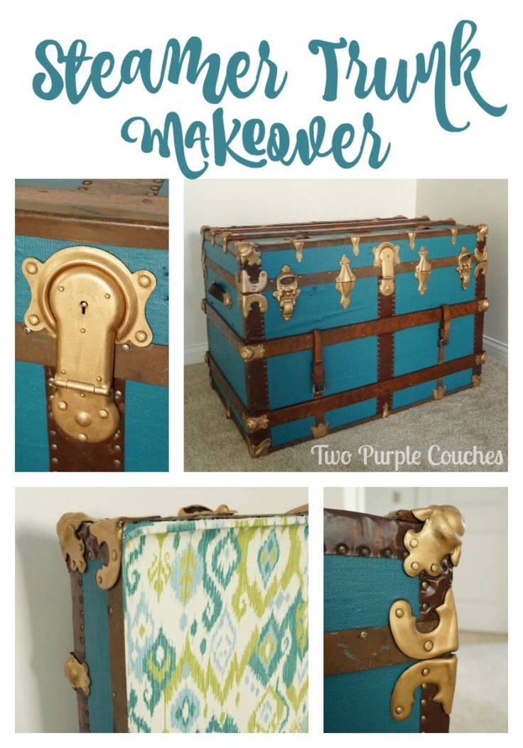 This would be perfect for extra bedroom storage space. -- Gorgeous DIY Vintage Steamer Trunk Makeover via www.twopurplecouches.com