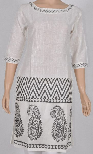 boat collared Kurta white khadi cotton and printed silk with hand embroidery work