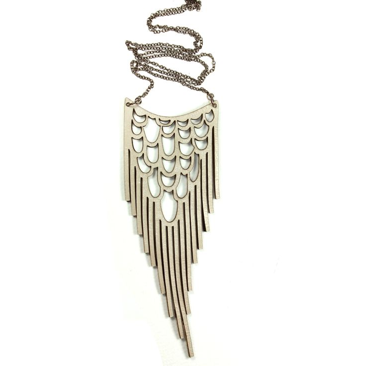 Hand made leather necklace drop fringe in cream