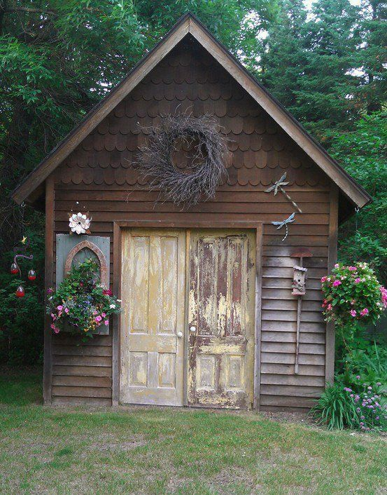 2110 best rustic garden sheds porches potting sheds for Rustic shed with porch