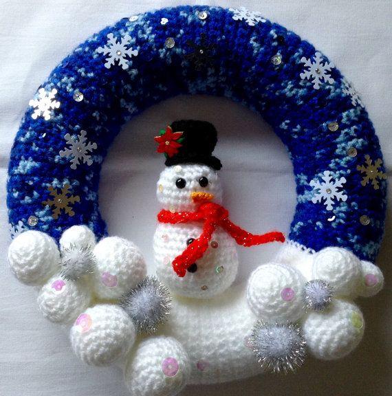 Christmas Wreath Decorative Wreath Snowman by BlueShedCrafts                                                                                                                                                                                 Mehr