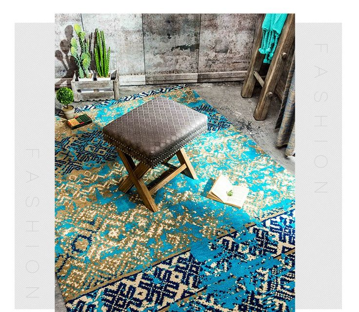 Cheap carpet underlay, Buy Quality carpet music directly from China carpet equipment Suppliers: Mediterranean blue style wedding  carpet , blue  living room  ground mat 200*300cm, bedside rug  home decoration carpet