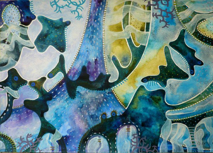 ZOO Obraz pochází z nové kolekce obrazů vytvořených kombinovanou technikou, kterou jsme si upravila sobě na míru. Od kresby oblíbenými akvarelovými pastely jsem došla ke klasickému akvarelu. Akvarelové barvy jsou zkombinovány s akvarelovým pastelem, který po nastrouhání a rozpuštění ve vodě slouží jako běžné akvarelové barvy, pouze je sytější a ve větší hustotě ...