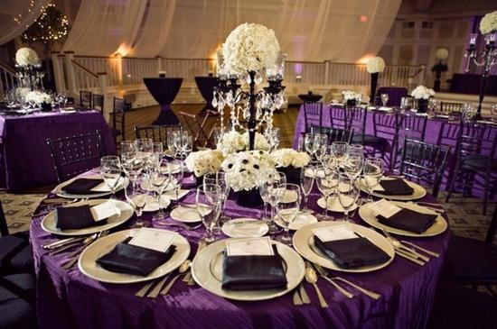 yep! black and white and purple wedding reception table | ... Romantic Royal Purple, Black and White Wedding Reception Dinner Table