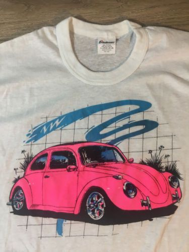 Vtg 80 039 S Volkswagen Beetle Neon Graphic Stedman T Shirt Sz Xl Usa 50 Vw Bug Clothing Shirts
