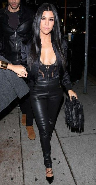 leggings pants faux leather kourtney kardashian pumps underwear bodysuit lace top all black everything shoes