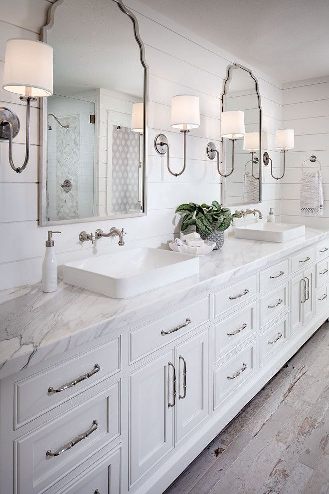 Shiplap bathroom wall with white cabinetry  white marble countertop  wall  mount faucet and rustic looking floor tile. 17 Best ideas about White Bathrooms on Pinterest   Bathroom