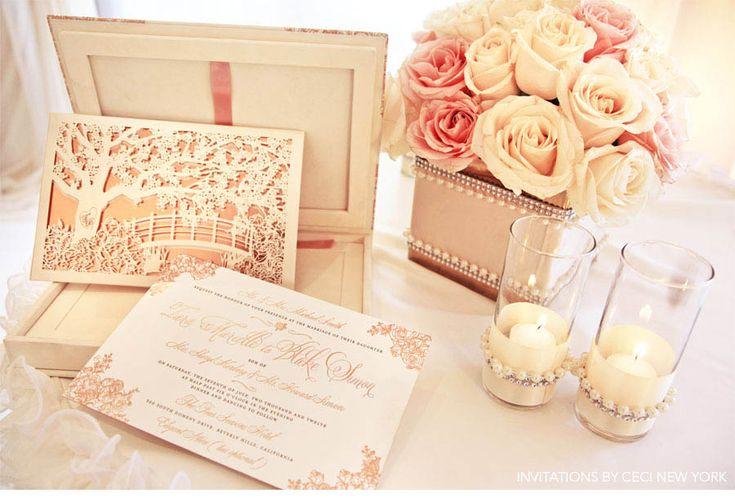 Wow!! Spectacular!  rose_gold_pink_romantic_wedding_roses_invitations_ceci_johnson_v152_om_1g, wedding invitation, block font combined with script belluccia font, Lettering Art Studio, Debi Sementelli