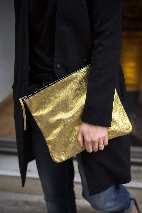 Oversized Leather Clutch old 12 inch, every day clutch