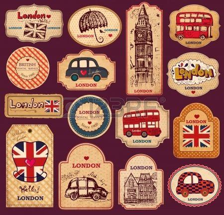 Vintage etiquetas y etiquetas con los s mbolos de Londres Foto de archivo