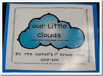 Book, Little Cloud by Eric Carle and class book, Our Little Clouds craft