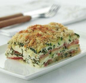 Knapperige ovenschotel met spinazie, geitenkaas en courgette