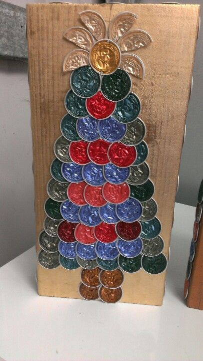 Recycled Nespresso capsules Xmas trees, this one was made by my 8 year old...