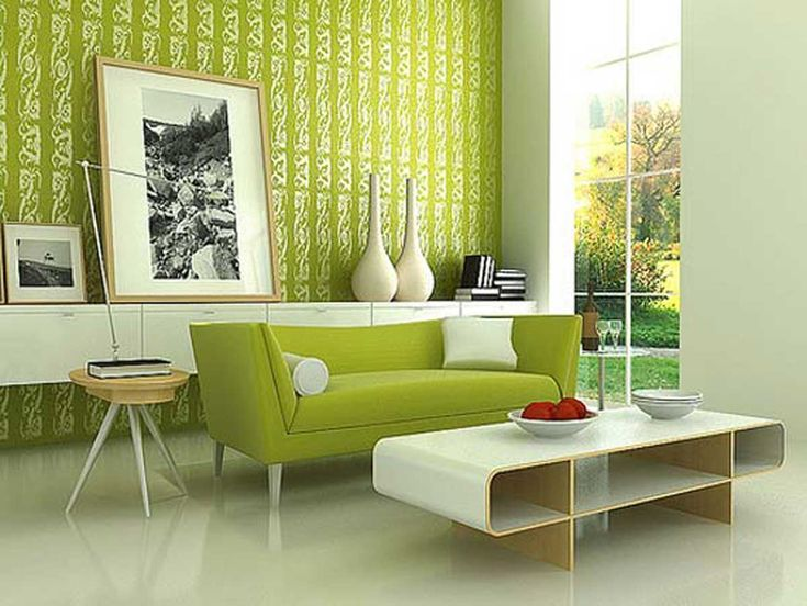 Modern living room with green wallpaper and sofa.