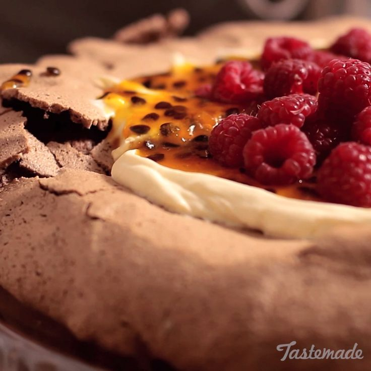 Chocolate Pavlova With Passion Fruit And Raspberry recipe