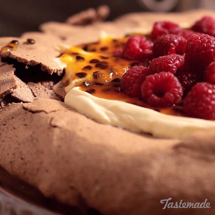 Chocolate Pavlova With Passion Fruit And Raspberry recipe