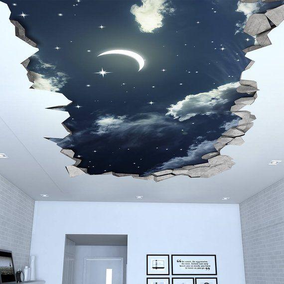 Night Sky 3D Effect Ceiling – 3d Wallpaper – 3d wall decals – 3d printed – 3d wall art – 3d art – Wall Sticker – Wall Decal – SKU: NSC3DW