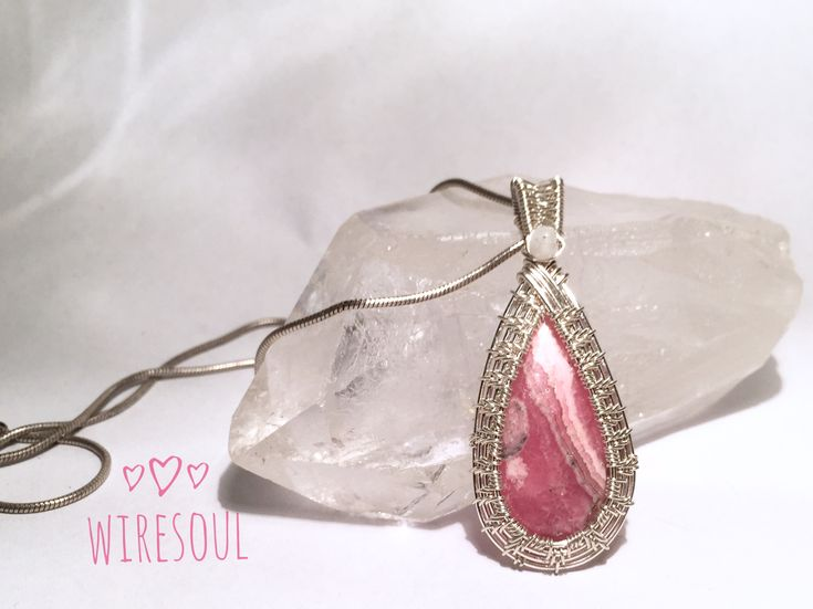 Wire jewerly, wire pendant, rodocrozite, moonstone