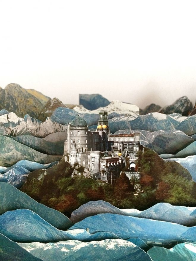 Magnificent collaged 3D landscapes made out of old postcards | Creative Boom