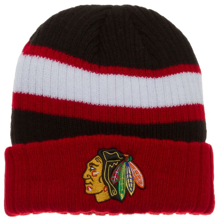 100% authentic 77859 73666 ... new zealand switzerland chicago blackhawks red black and white cuffed  knit hat a611f 95003 5224f 77033