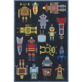 Lil Mo Whimsy Steel Blue Kids Rug Size: 8 x 10Momeni Lil, Area Rugs, To Kim, Kids Room, Kids Rugs, Steel Blue, Lil Mo, Robots Rugs, Mo Whimsy