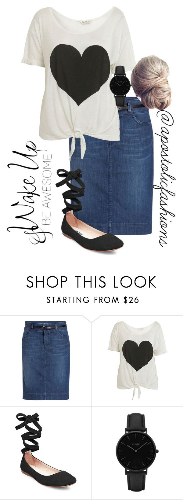 """""""Apostolic Fashions #1705"""" by apostolicfashions ❤ liked on Polyvore featuring Miss Selfridge, Steve Madden, CLUSE and WALL"""