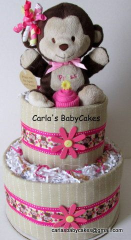 girls diaper cake pink diaper cake monkey diaper cake baby shower
