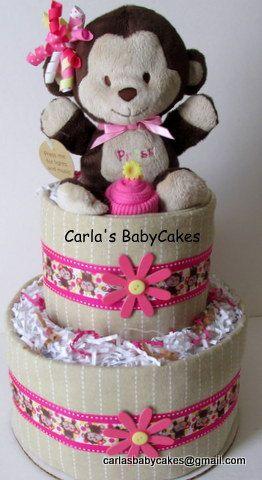 girls diaper cake pink diaper cake monkey diaper cake baby shower