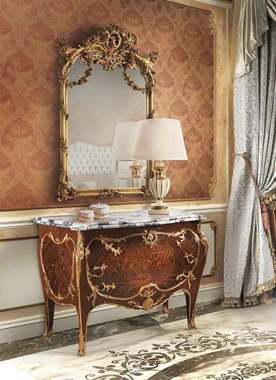 ARCONATI Chest 2 drawers with bronzes and marble top
