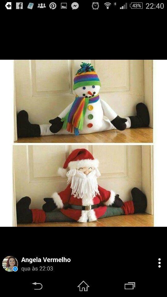 Papai noel, boneco de neve protetor de porta