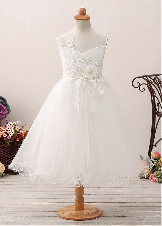 38d1fc3069a Buy discount Modest Tulle   Satin Jewel Neckline A-line Flower Girl Dress  With Lace Appliques   Beadings   Belt at Dressilyme.com