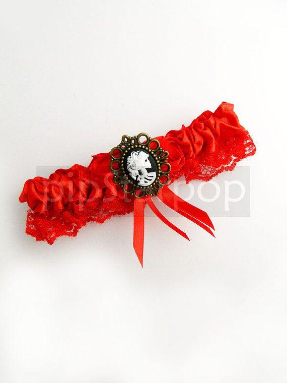 Red Garter  Gothic Death Maiden design with Black by PipStarPop, $16.00