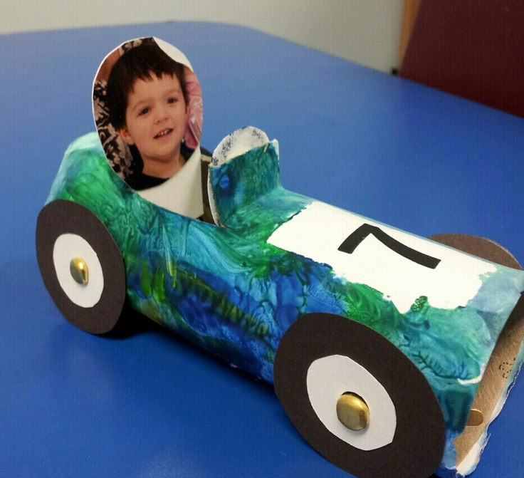 Saw a racecar project, but too meticulous for preschoolers. Came up with this. Toilet paper roll wrapped in while compter paper & painted by 3 yr. Old. Wheels & picture added later.