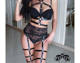 Jarretelles Sexy de la lingerie Bdsm sexy harnais harnais pour femme en cuir harnais fétiche lingerie Sexy jarretière ceinture cuir jarretière harnais de sécurité