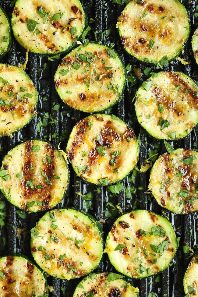 Pin for Later: 28 Healthy Zucchini Recipes That Go Beyond Zoodles Grilled Lemon Garlic Zucchini Get the recipe: grilled lemon garlic zucchini
