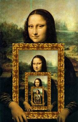 Mona Lisa, holding the Mona Lisa.
