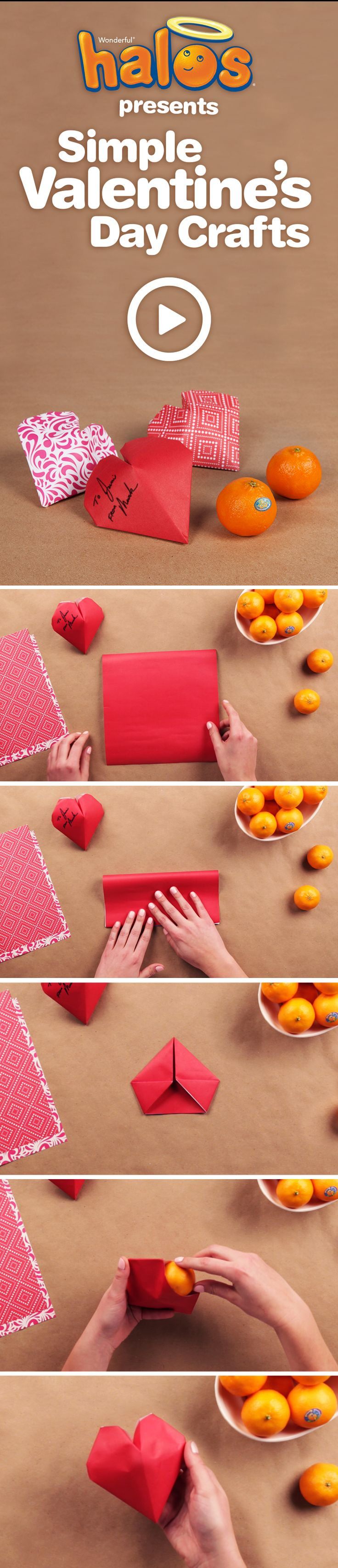 See how to make a simple, healthy Valentine's Day craft that's perfect for the classroom using just Wonderful Halos and craft paper.